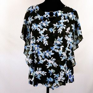 Notations Floral butterfly sleeves blouse, L